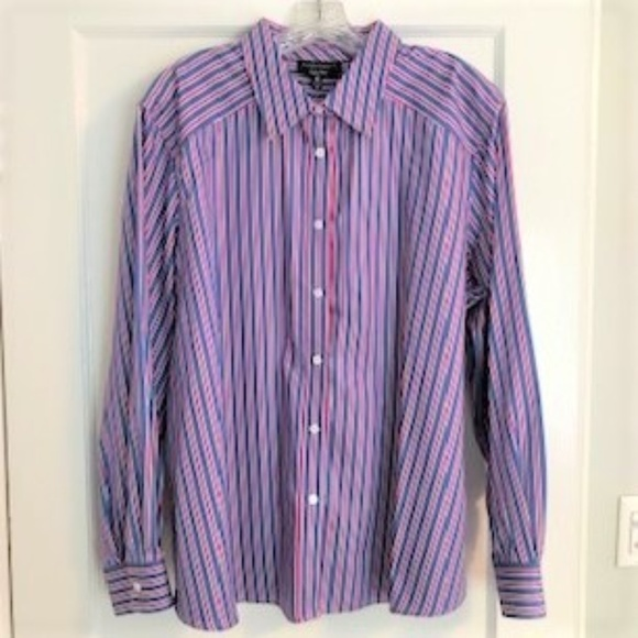 Foxcroft Tops - Beautiful blue stripe button down blouse
